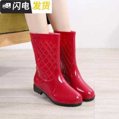 郵時尚室外女士雨鞋中筒防舒適靴平跟防滑加絨雨靴鞋韓版啟如