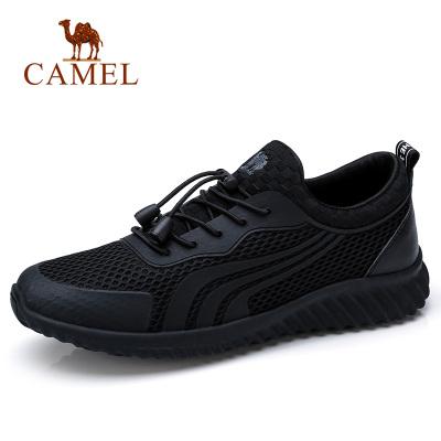 Camel駱駝男鞋 春夏透氣吸汗時尚運動鞋休閑慢跑防滑厚底網鞋