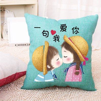 新款十字繡抱枕一對情侶卡通動漫結婚臥沙發室簡單繡枕套自己繡