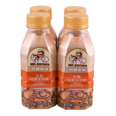 MR.BROWN伯朗咖啡焦糖玛琪朵风味咖啡饮料330ML*4进口咖啡