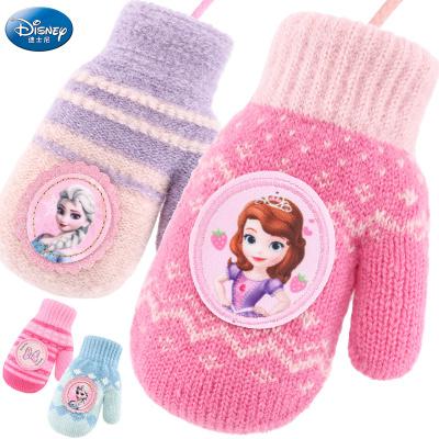 迪士尼儿童手套冬保暖加绒全指女童女孩公主卡通小孩幼儿宝宝针织包指手套