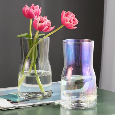 宽口简约小花瓶玻璃现代简约插花鲜花渐变小清新办公桌桌面摆件