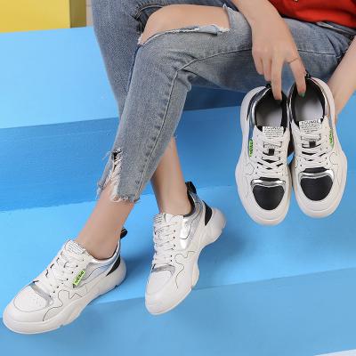 策霸春季2020新款小白鞋女系带牛皮女鞋潮韩版百搭浅口单鞋女平底休闲鞋
