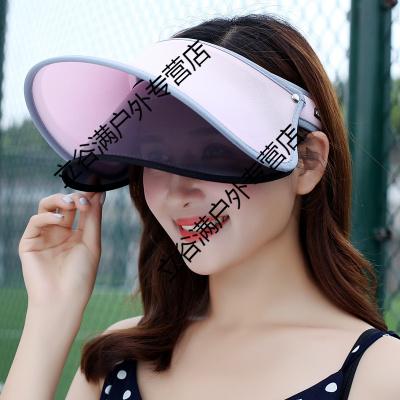 夏天雙層遮陽帽防紫外線防曬太陽帽空頂遮臉帽冰冰女鏡片帽子