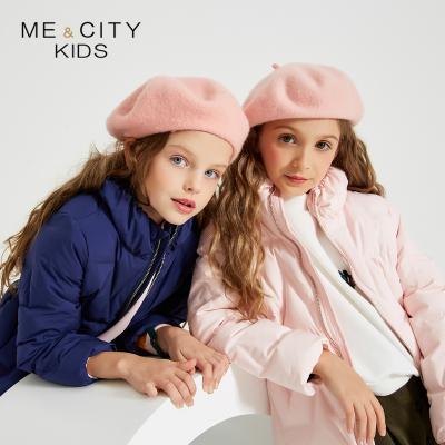 【1件3折价:142.8】米喜迪mecity童装19冬新款女童羽绒服时尚收腰短款儿童羽绒服轻薄