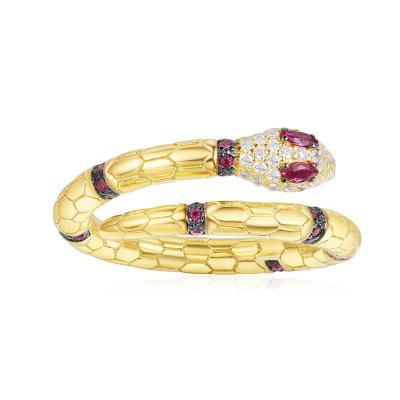 APM Monaco金黃蛇神戒指女個性異域設計感情侶S925銀食指戒禮物A18486XKRY