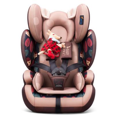 貝貝卡西安全座椅9月-12歲兒童安全座椅3C認證汽車車用嬰兒車載寶寶座椅LB509 咖色松果