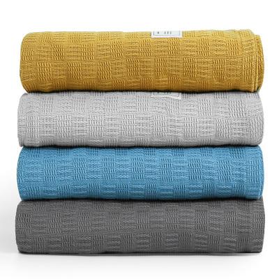 三利 毛巾被 純棉A類素色格紋蓋毯 居家辦公午休空調毯 柔軟親膚全棉紗布毛巾被