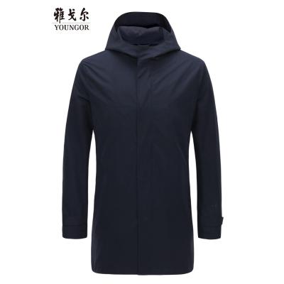 Youngor/雅戈尔秋冬新品男士商务休闲蓝色风衣外套966FQA