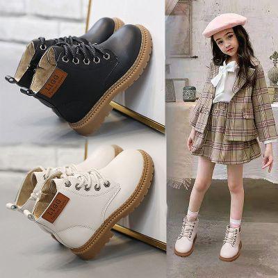 飞言女童马丁靴2019新款秋冬学生儿童马丁靴男童防滑单靴皮靴加绒短靴