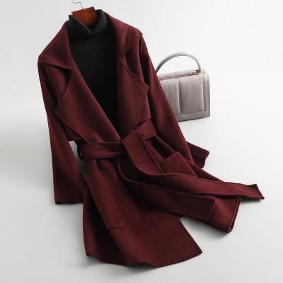 蘭奧女式休閑長款西裝領系帶雙面呢毛呢大衣