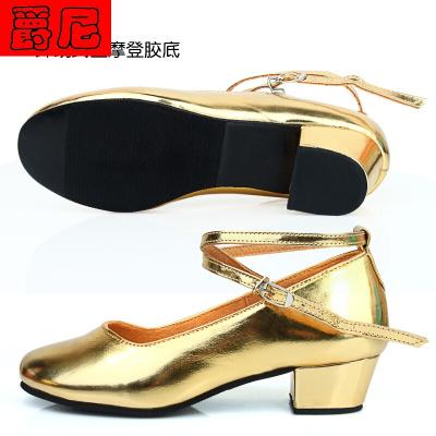 新疆维族拉丁舞鞋女儿童红黑金银色中跟民族舞蹈鞋演出软底鞋
