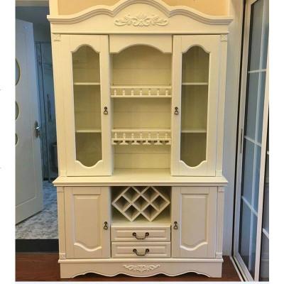 欧式实木酒柜美式靠墙餐边柜 定制1.5米家用玻璃客厅柜2米