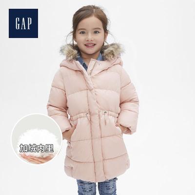 Gap女幼童毛領連帽保暖棉服冬473998 中長款加厚外套
