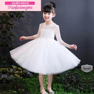 蕾丝女童公主裙钢琴演出服主持人花童婚纱裙子晚礼服蓬蓬纱连衣裙