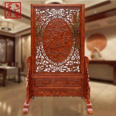 东阳木雕仿古中式实木落地屏风座屏花开富贵酒店客厅玄关隔断插屏