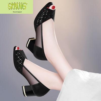 欧美百搭性感中跟女士凉鞋网纱镂空夏季新款鱼嘴鞋粗跟妈妈高跟鞋