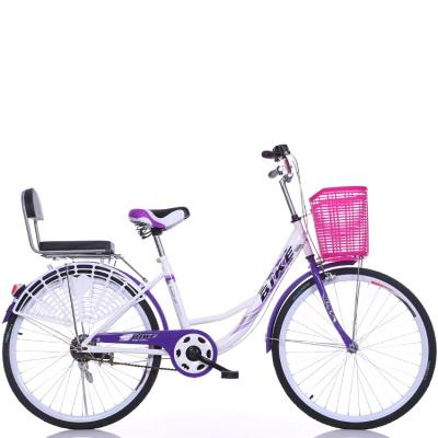 升級雙人自行車女式24寸26寸男式車輕便成人載小孩母子車通勤車