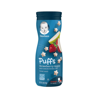 嘉寶(Gerber)全麥蘋果草莓星星泡芙膨化 3段 寶寶零食點心 42g/桶裝 原裝進口 8個月以上
