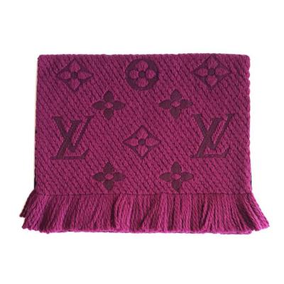 【正品二手99新】路易威登(LV)LOGOMANIA系列 紫紅色老花羊毛圍巾 M75503 奢侈品