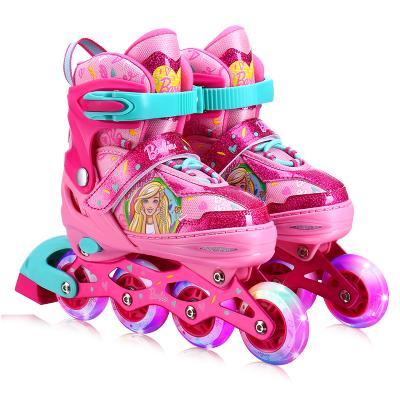 芭比溜冰鞋兒童全套裝女童輪滑鞋 旱冰鞋 滑冰鞋3-6-10歲