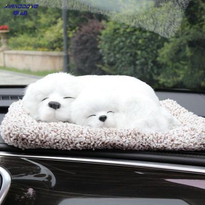 享動車內飾品擺件個性創意可愛網紅汽車用品車載中控臺裝飾抖音仿真狗 白色拉布拉多-趴