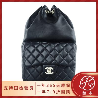 【正品二手95新】香奈儿 Chanel 女士黑银 羊皮 双肩包 18*28