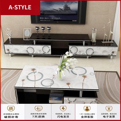 苏宁放心购小户型钢化玻璃电视柜茶几组合套装简易现代简约电视机柜客厅家用A-STYLE