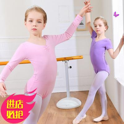 兒童舞蹈服練功服女孩夏季連體芭蕾舞服女童棉考級服中國舞服裝