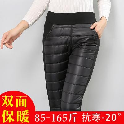 清倉加厚羽絨棉褲女顯瘦高腰中老年外穿加絨修身彈力小腳保暖棉褲