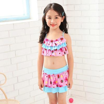 兒童泳衣女分體中大童公主裙式寶寶泳裝套裝小學生韓版女童游泳衣 威珺