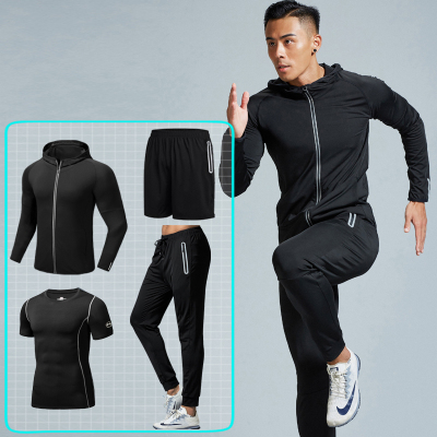 匡米葳(CONMEIVE)2020春季健身服套裝男跑步運動速干衣緊身衣訓練服籃球晨跑健身房夜跑F