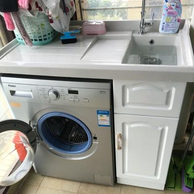 闪电客阳台实木洗衣柜组合阳台浴室柜组合带搓板滚筒洗衣机柜超深洗衣池 1.0米【左右盆备注】
