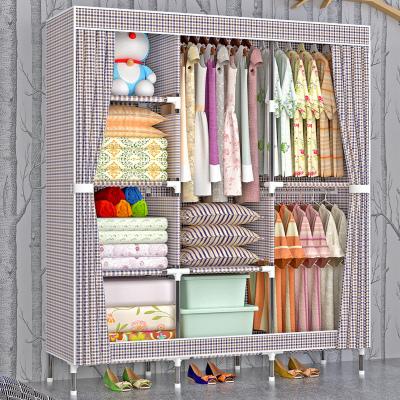 妙旭簡易衣柜加粗加固鋼管加厚牛津布衣櫥鋼架組裝新款布藝雙人布衣柜