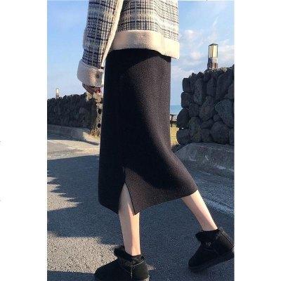 直筒裙半身长裙黑色开叉针织半身裙女秋冬新款加厚冬天配毛衣冬裙