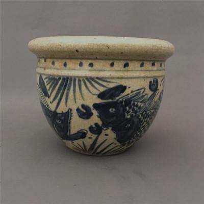 手繪青花魚藻蓮子缸古董收藏菖蒲花盆擺件鯉魚風水擺件老瓷器仿古