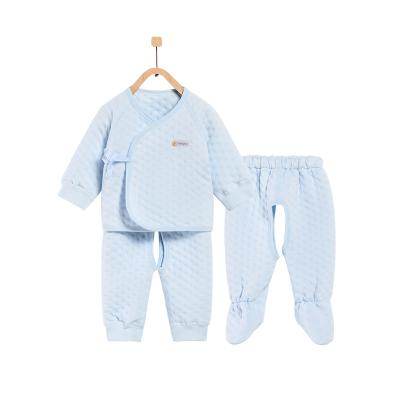 童泰TONGTAI秋季婴幼儿保暖套装0-3个月加厚和服系带三件套儿童通用59cm