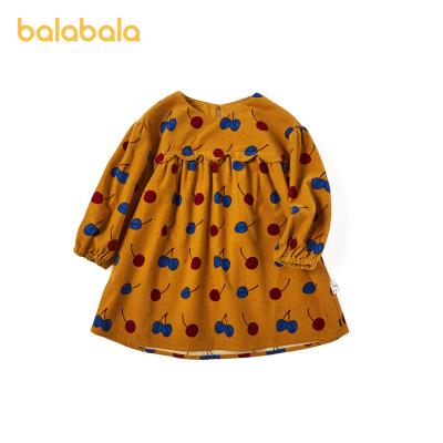巴拉巴拉女童裙子兒童連衣裙寶寶公主裙2020新款秋裝洋氣燈芯絨裙