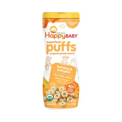 禧貝 happy baby 香蕉南瓜味有機泡芙 60g/罐裝(桶裝)6個月以上 美國原裝進口