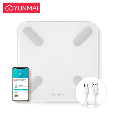 云麥(YUNMAI)USB充電體脂秤白色 智能精準家用電子秤體重秤 鋼化玻璃面板 支持液晶顯示 飲食分析運動指導