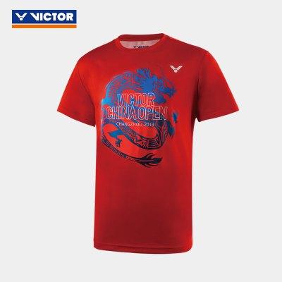 VICTOR/威克多 羽毛球服中國公開賽紀念服裝 針織圓領短袖T恤 95008 95017