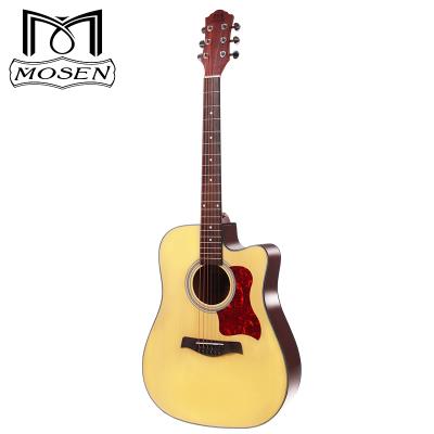 莫森自營(mosen)DC41云杉民謠初學者木吉他入門吉它jita升級款原木色缺角41英寸