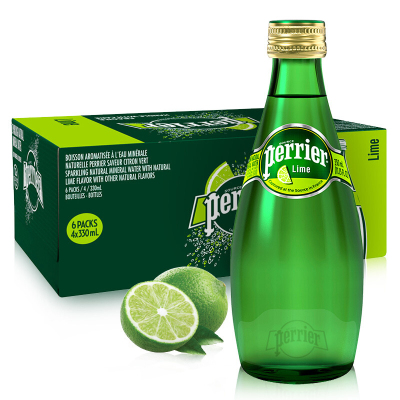 【奢華玻璃瓶】巴黎水(Perrier)天然氣泡礦泉水(青檸味)玻璃瓶裝 330ml*24瓶/箱 進口飲用水 法國進口
