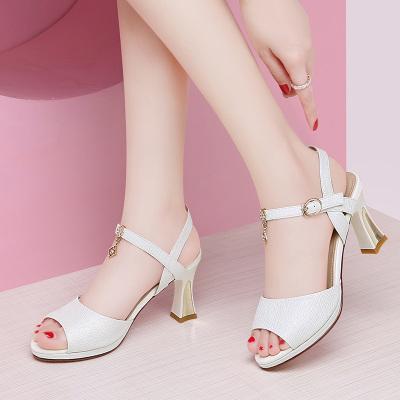 百年紀念 魚嘴涼鞋女粗跟一字帶網紅仙女風夏季新款高跟女鞋 21812180