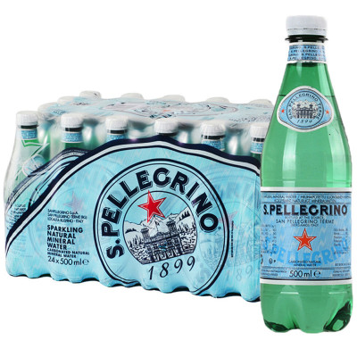 【礦物質水】圣培露 天然氣泡礦泉水塑料瓶 500ml*24瓶/箱 進口飲用水 意大利進口
