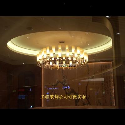 新中式吊灯客厅灯现代中式大吊灯酒店餐厅大厅大堂全铜灯具 二米电镀古铜40头配LED光源