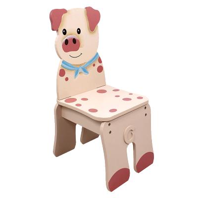 TEAMSON 紛朵奇主題兒童房幼兒園創意農莊豬木質靠背椅子