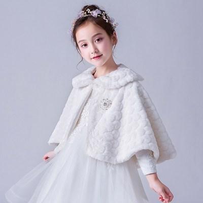 女童斗篷外套冬加厚披風兒童禮服公主裙加絨保暖外出小孩外搭披肩