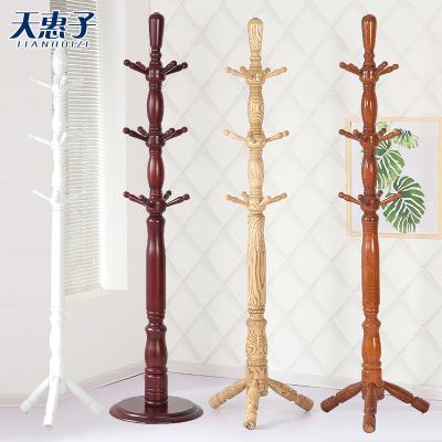 天惠子 衣帽架 全實木衣帽架水曲柳木落地式現代中式家用衣架子臥室客廳掛衣架