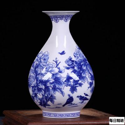 每日精進 景德鎮陶瓷器青花骨瓷榮華富貴花瓶 家居裝飾花瓶工藝品擺件 玉壺春瓶